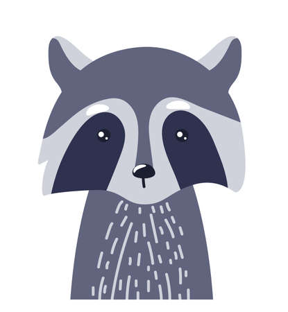Raccoon cute animal baby face vector illustration. Hand drawn style nursery character. Scandinavian funny kid design