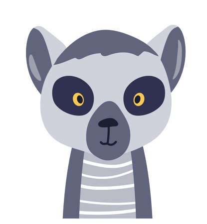 Lemur cute animal baby face vector illustration. Hand drawn style nursery character. Scandinavian funny kid design