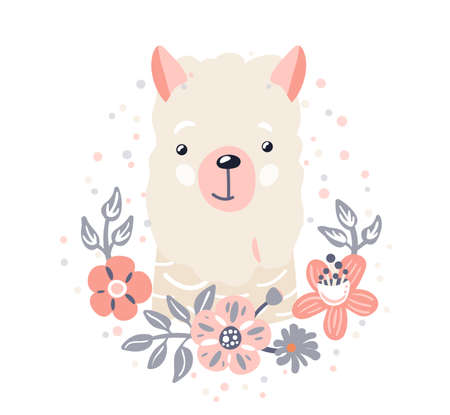 Lama cute animal baby face with flowers and leaves elements vector illustration. Hand drawn style nursery character. Scandinavian funny kid design
