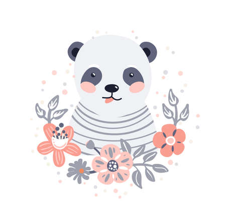 Panda cute animal baby face with flowers and leaves elements vector illustration. Hand drawn style nursery character isolated on white background. Scandinavian funny kid design