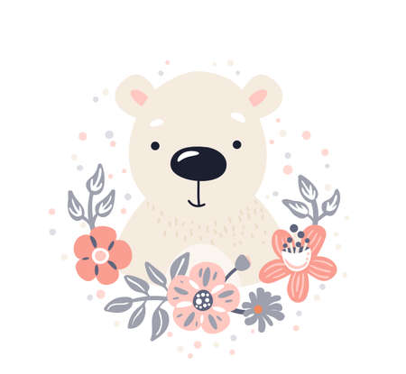 Polar bear cute animal baby face with flowers and leaves elements vector illustration. Hand drawn style nursery character isolated on white background. Scandinavian funny kid design