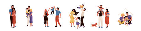 Happy family set vector illustration. Collection of mother, father, daughter and son hugging, playing and smiling, spending time together. Isolated on white background Ilustrace