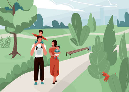 Happy family with father, mother and their son and daughter walk at the city park vector illustration. Joyful mom, dad and kids hugging and smiling, spending time together