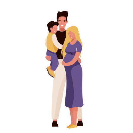 Happy family vector illustration. Mom, dad and son hugging, smiling standing. Father hold child on his hand. Isolated on white background