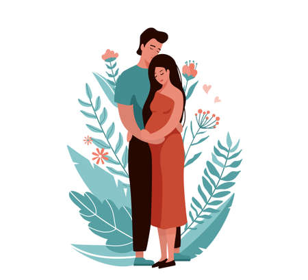 Man hugging and kissing pregnant woman. Happy family couple vector illustration. Husband and wife concept with floral elements. Isolated on white background Ilustrace