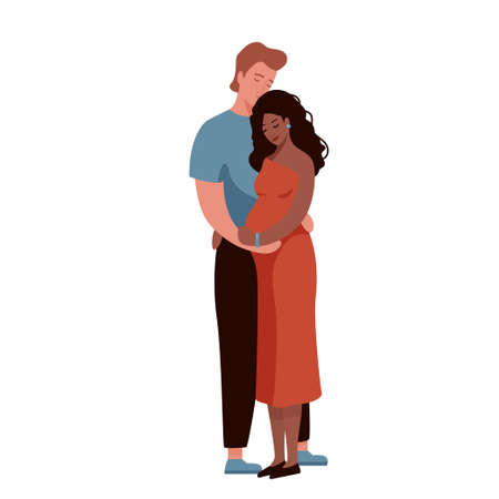 White man hugging and kissing pregnant afro american woman. Happy interracial family couple vector illustration. Husband and wife concept. Isolated on white background