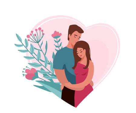Man hugging and kissing woman in heart shape background with floral elements. Happy family couple vector illustration. Husband and wife concept. Isolated on white background