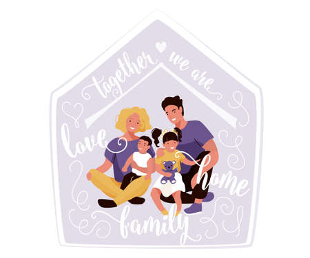 Happy family with quote text vector illustration. Together we are love, home, family. Mom, dad and kids hugging and smiling sitting inside their house Ilustrace