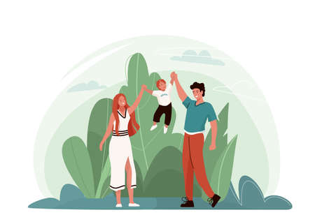 Happy family vector illustration with plants, sky. Mother and father hold son, hugging, playing and smiling, spending time together. Isolated on white background