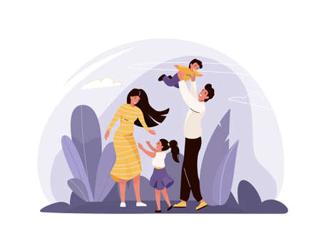 Happy family vector illustration with plants, sky. Mother, father, daughter and son hugging, playing and smiling, spending time together. Isolated on white background