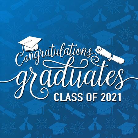 恭喜2021届的矢量插图毕业生,无缝毕业生背景,白色标志为毕业晚会。印刷问候,邀请卡与文凭,帽子,字母