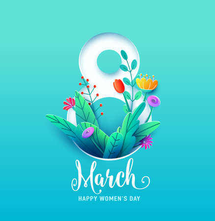 8 march, happy womens day greeting card vector illustration in 3d paper cut style. Number eight with spring flowers and leaves on blue background Ilustrace