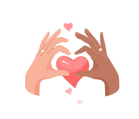 Interracial marriage vector illustration concept. Two different skin tones hands folding fingers making heart symbol gesture on the background of a big heart. Ring finger with wedding ring