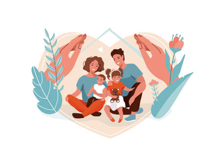 Family protection, support with children vector background. Mother, father, daughter and son sitting together and hugging each other. Hands hug people, flowers and leaves nature. Home concept Ilustrace