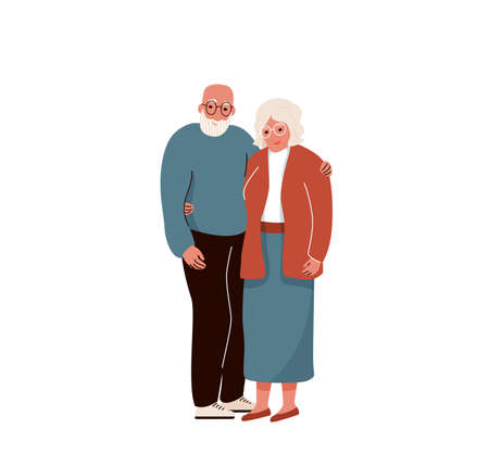 Older couple hug each other. Vector background. Senior people family isolated on white backdrop