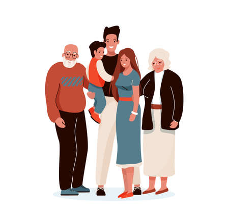 Happy family vector illustration. Father, mother, grandfather, grandmother, child hug each other. Isolated on white background