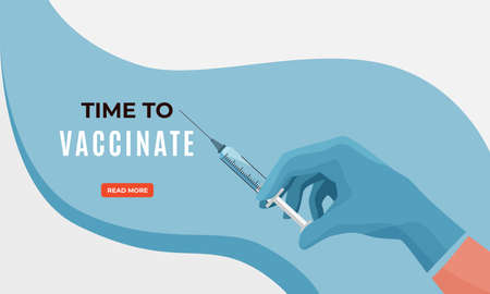 Protect health vaccination campaign concept vector banner background in modern simple style. Nurse, doctor hand hold syringe with vaccine from coronavirus disease. Time to vaccinate text Reklamní fotografie - 164662959