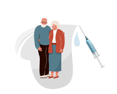 Vaccinate elderly vector background. Old couple hugging and smiling in heart shape with safety protect vaccine syringe. Virus protection. Isolated on white backdrop