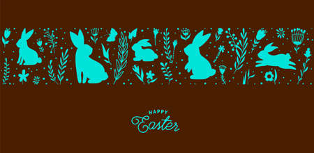 Easter seamless border vector illustration. Holiday pattern with blue bunnies, flowers, plants silhouettes isolated on dark brown chocolate background. Simple flat style 矢量图像