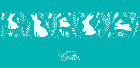 Easter seamless border vector illustration. Holiday pattern with bunnies, flowers, plants silhouettes isolated on blue background. Simple flat style 矢量图像