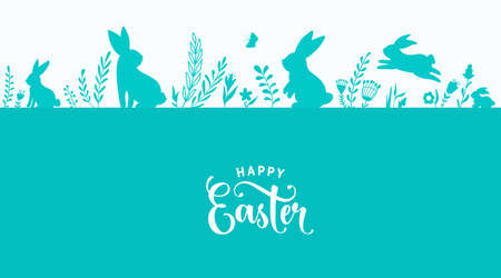 Easter border design vector illustration. Holiday pattern with blue bunnies, flowers, plants, butterfly silhouettes isolated on white background. Text greeting sign. Simple flat style