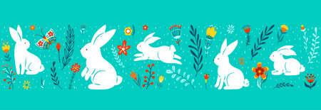 Easter seamless border vector illustration. Holiday pattern with cute white bunnies, colorful flowers, plants isolated on blue background. Simple flat style