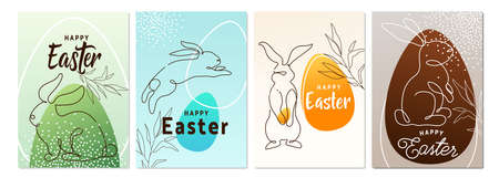 Happy easter greeting poster set background. Line style bunny with egg and greeting text sign in simple whimsical memphis modern flat style 矢量图像