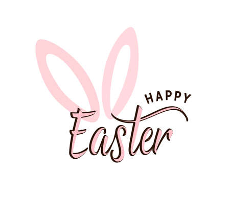 Happy Easter typography text vector illustration with cute pink bunny ears. Spring celebration greeting background