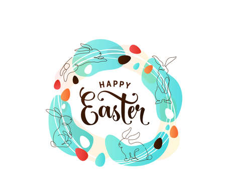 Happy easter greeting vector illustration in minimal line style with outline bunnies, eggs, color spots and celebration text at the center. Spring design in circle, round shape