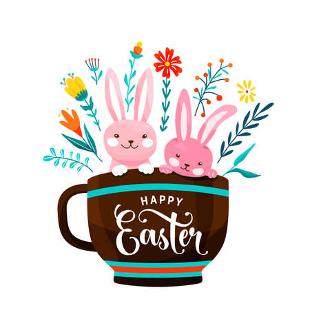 Happy easter greeting vector illustration. Two funny easter bunnies sit in the cup surrounded flowers, leaves and floral elements isolated on white background 矢量图像