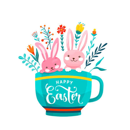 Happy easter greeting vector illustration. Two funny easter bunnies sit in the cup surrounded flowers, leaves and floral elements isolated on white background Reklamní fotografie - 165374930