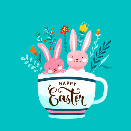 Happy easter greeting vector illustration. Two funny pink easter bunnies sit in the white cup surrounded flowers, leaves and floral elements isolated on blue background 矢量图像