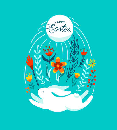 Happy easter greeting vector illustration. Funny white easter bunny jump under sun and flowers, leaves and floral elements, decorated in egg shape. Isolated on blue background 矢量图像