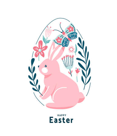 Happy easter greeting vector illustration. Funny pink easter bunny with cute butterfly sit surrounded flowers, leaves and floral elements, decorated in egg shape. Isolated on white background