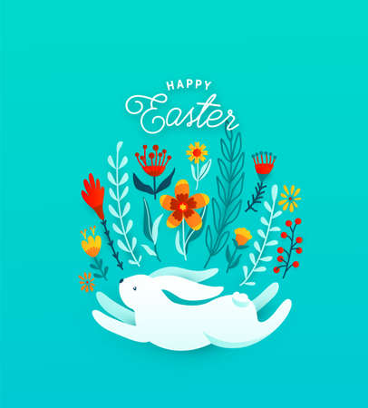 Cute happy easter greeting vector illustration. Funny white easter bunny jump under flowers, leaves and floral elements, decorated in egg shape. Text celebration sign. Isolated on blue background 矢量图像