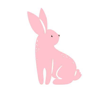 Bunny vector illustration. Pink textured rabbit isolated on white background. Cute print design characters in flat cartoon scandinavian style