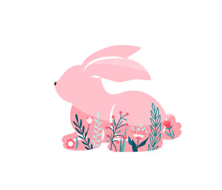 Easter bunny vector illustration. Pink rabbit with floral, flowers decoration inside hare shape isolated on white background. Cute print design character in flat cartoon scandinavian style
