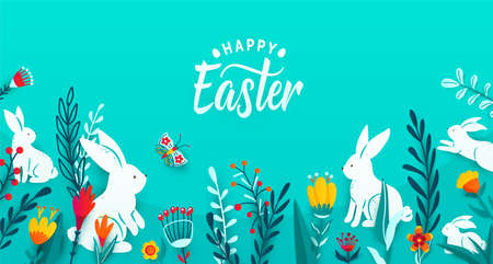 Happy easter greeting frame banner background with paper cut bunnies, flowers, grass, butterfly. Minimal 3d style floral background. Vector illustration