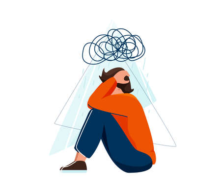 Mental health vector illustration. Sad depressed man sitting and holding his head, a cloud of chaos over him. Stress concept in flat simple style isolated on white background