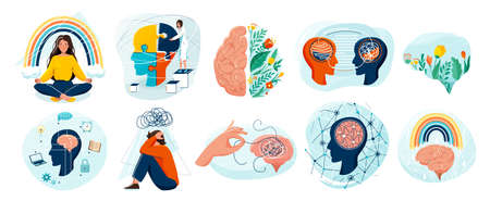 Mental health set vector background. Collection of different illustration with sad and happy people, two side brain, doctor add together puzzle of human head, psychotherapy, connection mind concept Reklamní fotografie - 166389004