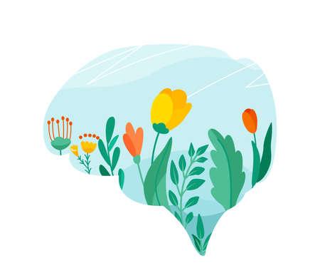 Mental health vector illustration. Positive mind design concept. Flowers, leaves, floral elements on sky background in brain shape