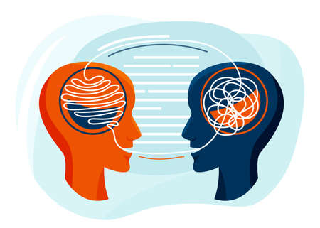 Mental health vector illustration. Two humans head silhouette talk each other, psychotherapy design concept. The psychiatrist untangle the patient thoughts