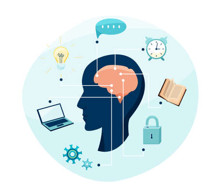 Mental health, brain research vector illustration. Person silhouette with cerebrum and connections of action, reading, working, mind, idea. Isolated on white background 矢量图像