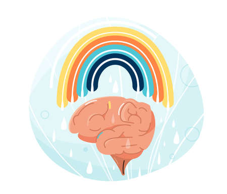 Mental health vector illustration. Human brain with rainbow over it. Balance positive vibes mind design, creative energy, joy emotion concept isolated on white background