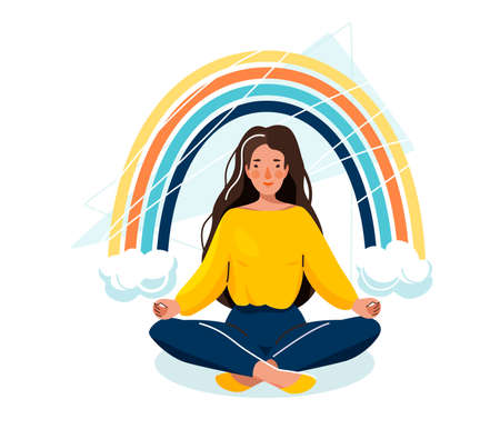 Mental health vector illustration. Beautiful happy woman sitting in yoga pose under rainbow with clouds isolated on white background. Healthy care, positive life concept in trendy flat style