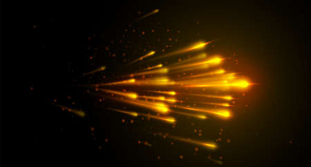Light speed vector background with yellow color lines, dot particles on dark backdrop. Abstract comet star flow in the universe