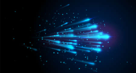 Blue light speed vector background with lines, dot particles on dark backdrop. Abstract comet star flow in the universe