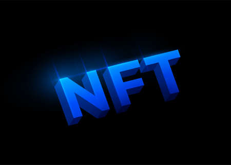 NFT non fungible tokens concept vector background. Big 3d blue shiny letters sign isolated on dark black backdrop. Tokenscrypto art design