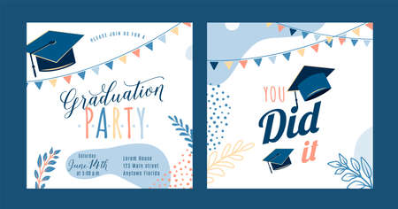 Graduation party vector background, light invite card template. You did it text quote. Graduate design with cap, flags, plants, dots, organic shapes. Modern art minimalist style. Back and front side 矢量图像