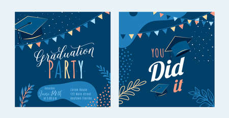 Graduation party vector background, dark invite card template. You did it text quote. Graduate design with cap, flags, plants, dots, organic shapes. Modern art minimalist style. Back and front side 矢量图像